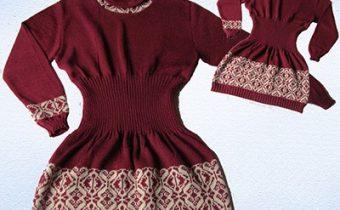 темно красное платье свитер