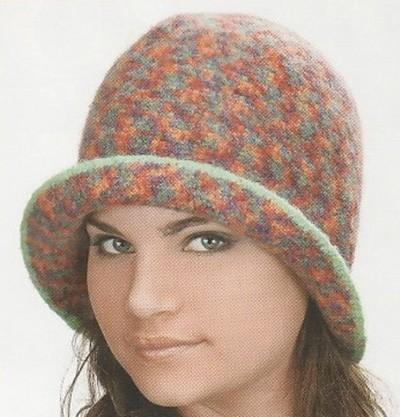 меланжевая шляпка крючком