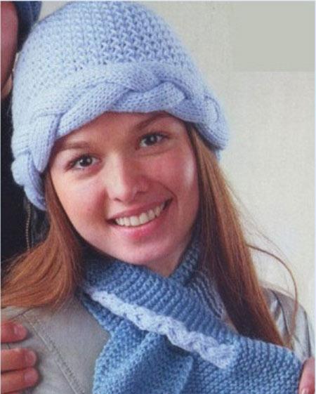 зимняя шапочка спицами с рельефной косой
