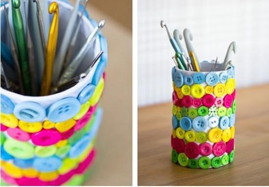 Стакан для карандашей своими руками фото