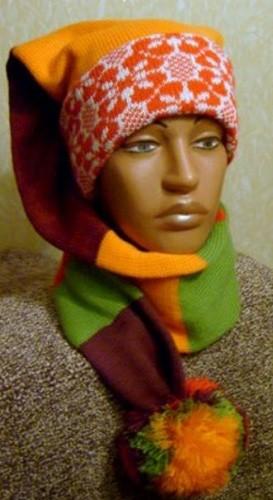 шапочка-шарф на вязальной машине