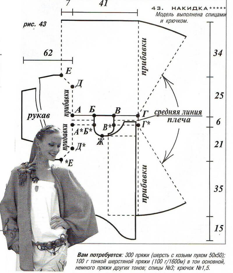 чертеж вязания накидки с рукавом связанный спицами