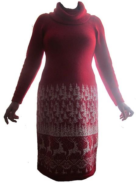 красное платье олени в лесу