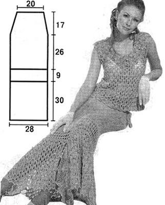 схема и выкройка юбки с отделкой кючком