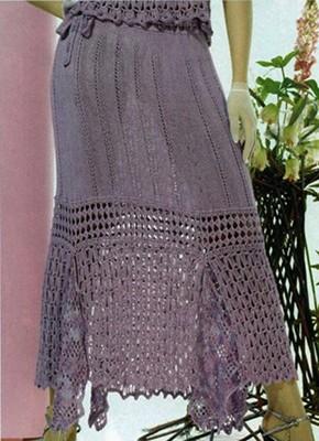 юбка с отделкой крючком