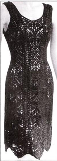 Платье крючком узором Ананасы со схемами и описанием