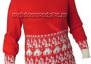 Красно-белый свитер с домиками в лесу по перфокарте