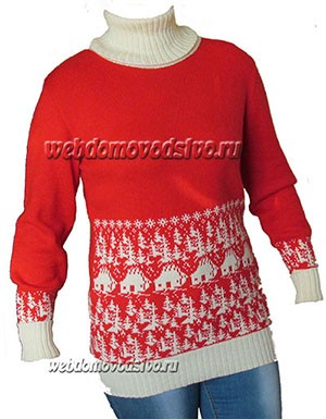 свитер с домиками в лесу по перфокарте