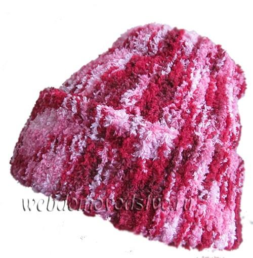 Вяжем шапку бини укроченными рядами платочной вязкой