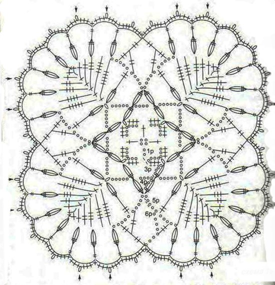 схема мотива кардигана крючком