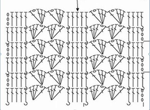 схема для подола вязанного детского платья крючком