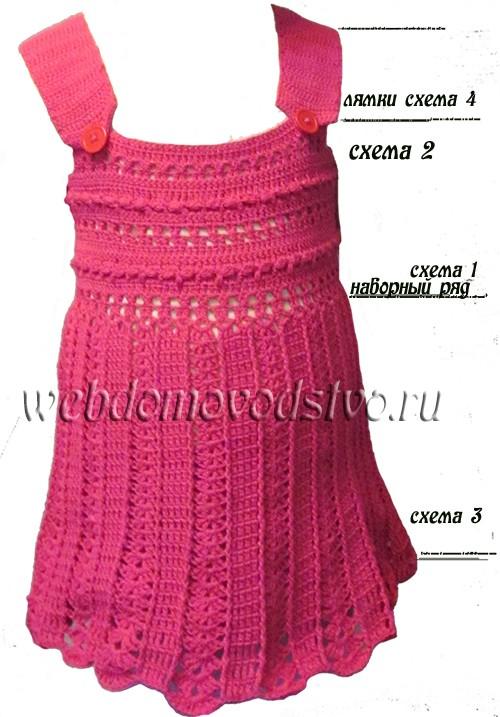 подробности платья крючком для девочки