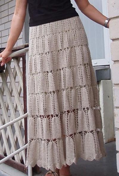 длинная юбка крючком фото