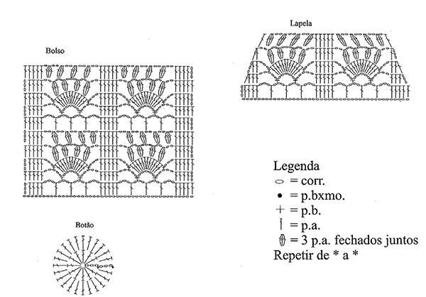 схема вязания карманов туники крючком