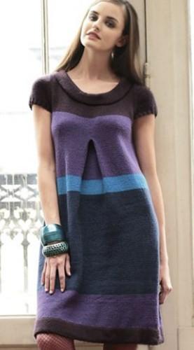 полосатое платье из журнала по вязанию Филдер описание на русском