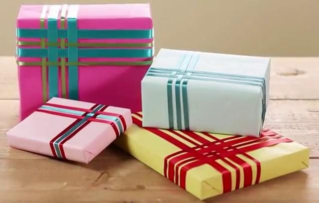 стильная упаковка подарка в подарочную бумагу