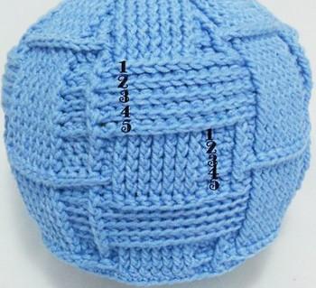 пояснения вязания поперечных полосок шапочки