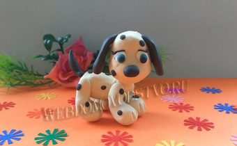 Легкие поделки из пластилина: веселый щенок-далматинец