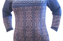 Машинное вязание по перфокарте бело-голубой джемпер с описанием