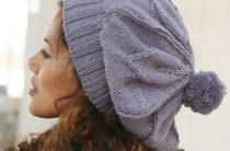 Дропс вязание на русском шапочка-берет с помпоном