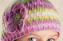 Вязание крючком летняя шапочка для девочки схема трех головных уборов