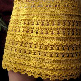 Как вязать скрещенные столбики крючком для винтажного платья