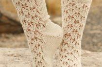 Ажурные носочки спицами перевод из Дробс