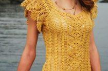 Платье с центральной вставкой ананасами крючком